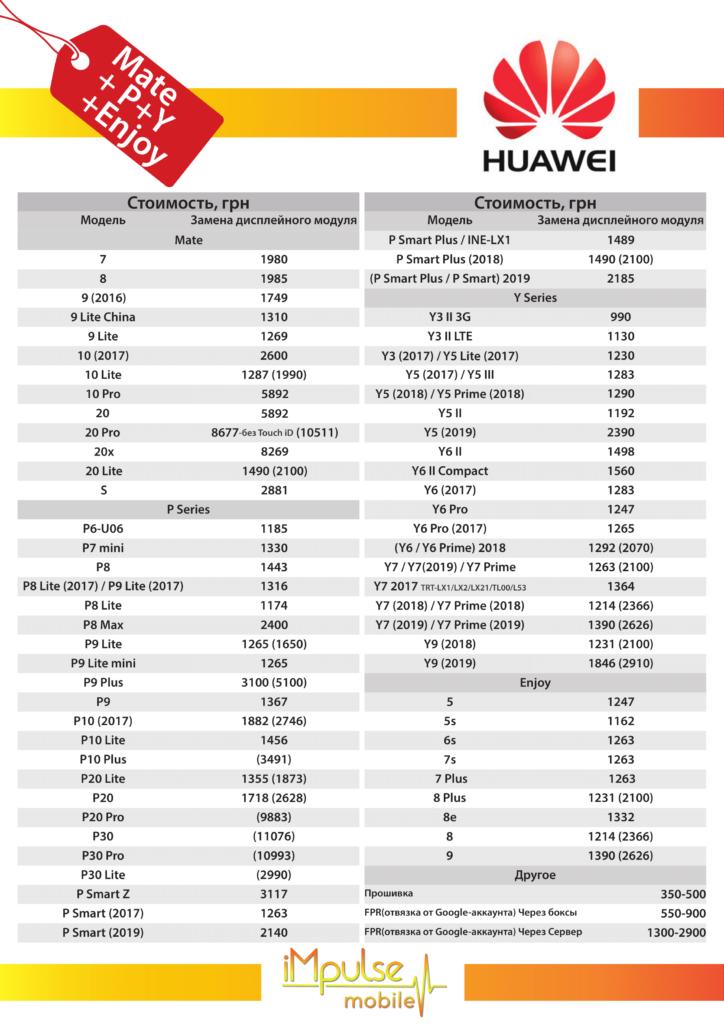 Ремонт Huawei Серии P, Y